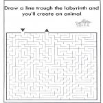 Knutselen - Dier labyrint kleuren 2