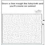 Knutselen - Dier labyrint kleuren 3
