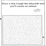 Knutselen - Dier labyrint kleuren 6