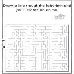 Knutselen - Dier labyrint kleuren 7