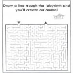 Knutselen - Dier labyrint kleuren 8