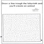 Knutselen - Dier labyrint kleuren 9