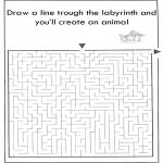 Knutselen - Dier labyrint kleuren