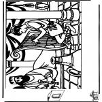Kleurplaten Bijbel - Diorama David en Saul 1