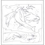 Kleurplaten Dieren - Dolfijnen 2