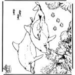 Kleurplaten Dieren - Dolfijnen 5