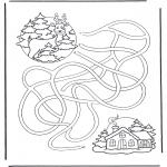 Kleurplaten Winter - Doolhof Hert