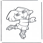 Kinderkleurplaten - Dora op schaatsen
