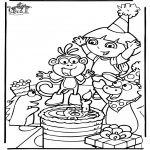 Thema Kleurplaten - Dora verjaardag