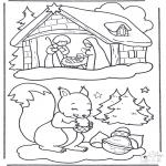Kerst Kleurplaten - Eekhoorn en kerststal