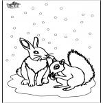 Kleurplaten Winter - Eekhoorn en konijn