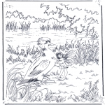 Kleurplaten dieren - Eendje en een elf