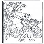 Allerlei Kleurplaten - Elfje met aardbeien