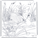 Allerlei Kleurplaten - Elfjes op zwaan