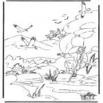Kleurplaten Bijbel - Elia en de raven