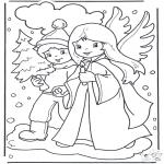 Kerst Kleurplaten - Engel en jongetje