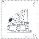 Kinderkleurplaten - Ernie onder de douche