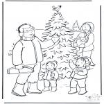 Kerst Kleurplaten - Familie in de sneeuw