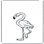 Kleurplaten Dieren - Flamingo