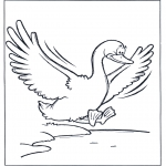 Kleurplaten dieren - Gans vliegt