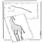 Kleurplaten Dieren - Giraffe en Zeehond
