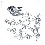 Kleurplaten Dieren - Haan en kip