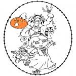 Thema Kleurplaten - Halloween borduurkaart