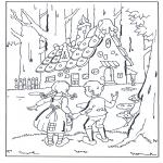 Allerlei Kleurplaten - Hans en Grietje bij het snoephuisje