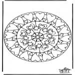 Mandala Kleurplaten - Harten Mandala 6