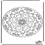 Mandala Kleurplaten - Harten Mandala 7
