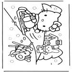Stripfiguren Kleurplaten - Hello kitty in de sneeuw