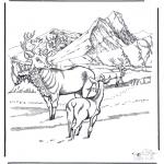 Kleurplaten Winter - Hert in de sneeuw
