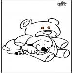 Kleurplaten Dieren - Hond en beer