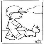 Kleurplaten Dieren - Hond uitlaten