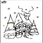 Kleurplaten Winter - Huis in de sneeuw 2