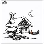 Kleurplaten Winter - Huis in de sneeuw 3