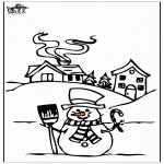 Kleurplaten Winter - Huis in de sneeuw 4
