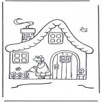 Kinderkleurplaten - huisje met bloemen