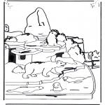 Kleurplaten Dieren - IJsbeer en zeeleeuw