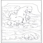 Kleurplaten Dieren - IJsbeer met jong