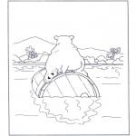 Kleurplaten Dieren - IJsbeer op ton