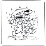 Kinderkleurplaten - In de regen