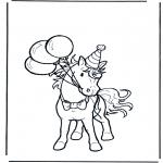 Kleurplaten Dieren - Jarig paard