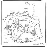 Kleurplaten Bijbel - Jezus bid in tuin