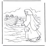 Kleurplaten Bijbel - Jezus loopt op water