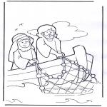 Kleurplaten Bijbel - Jezus op boot