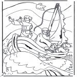 Kleurplaten Bijbel - Jezus op het meer