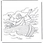 Kleurplaten Bijbel - Jezus op het water 1