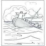 Kleurplaten Bijbel - Jezus op het water 2