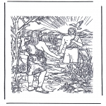 Kleurplaten Bijbel - Jezus wordt gedoopt